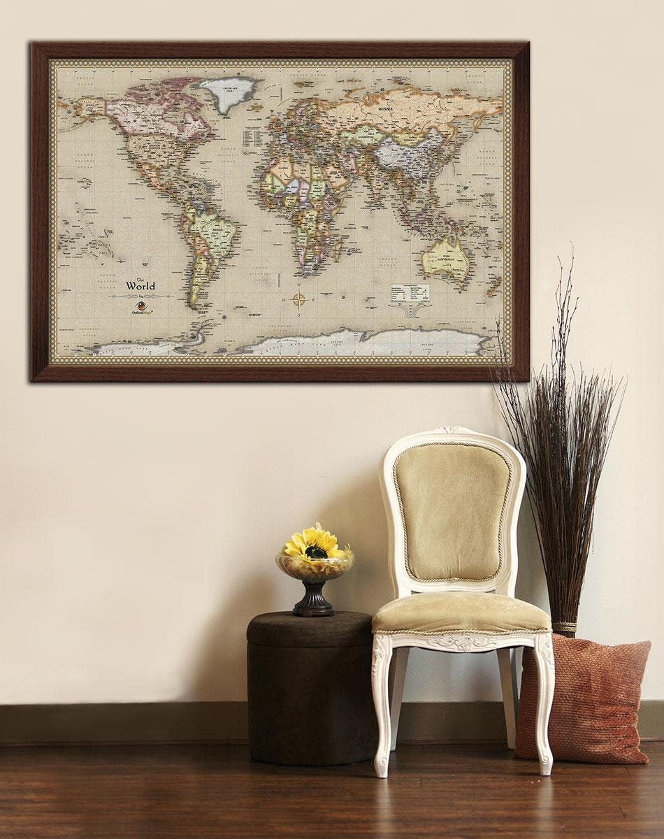 Framed Maps |Wood And Aluminum Frames For Wall Maps Intended For Framed World Map Wall Art (View 6 of 20)