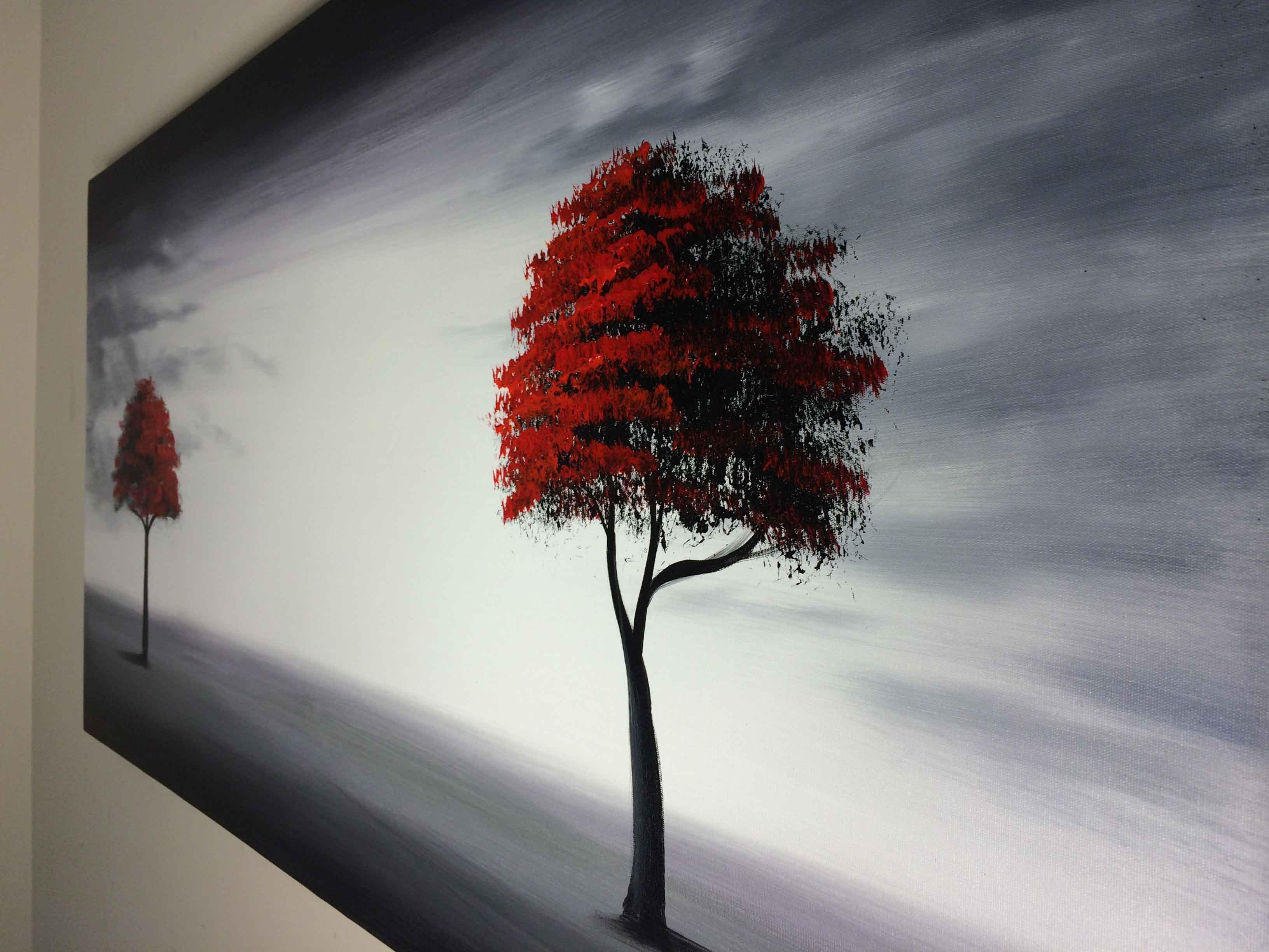 Framed Modern Red Tree Oil Painting Canvas Large Abstract Wall Art With Regard To 3D Tree Wall Art (Image 5 of 20)
