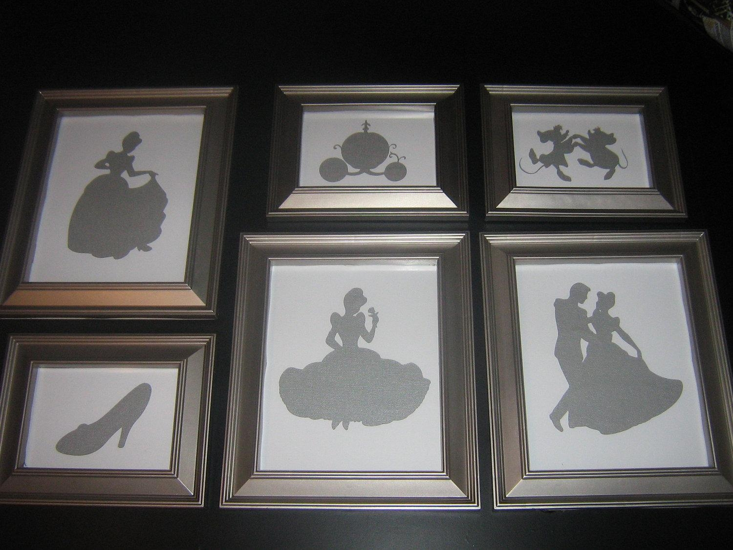 Framed Nursery Art Disney Princess Silhouette Cinderella Within Disney Princess Framed Wall Art (View 12 of 20)