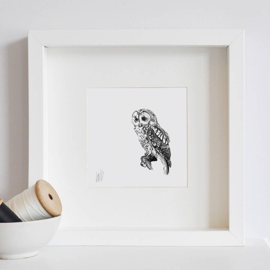 Framed Owl Printlale Guralp | Notonthehighstreet Intended For Owl Framed Wall Art (View 4 of 20)