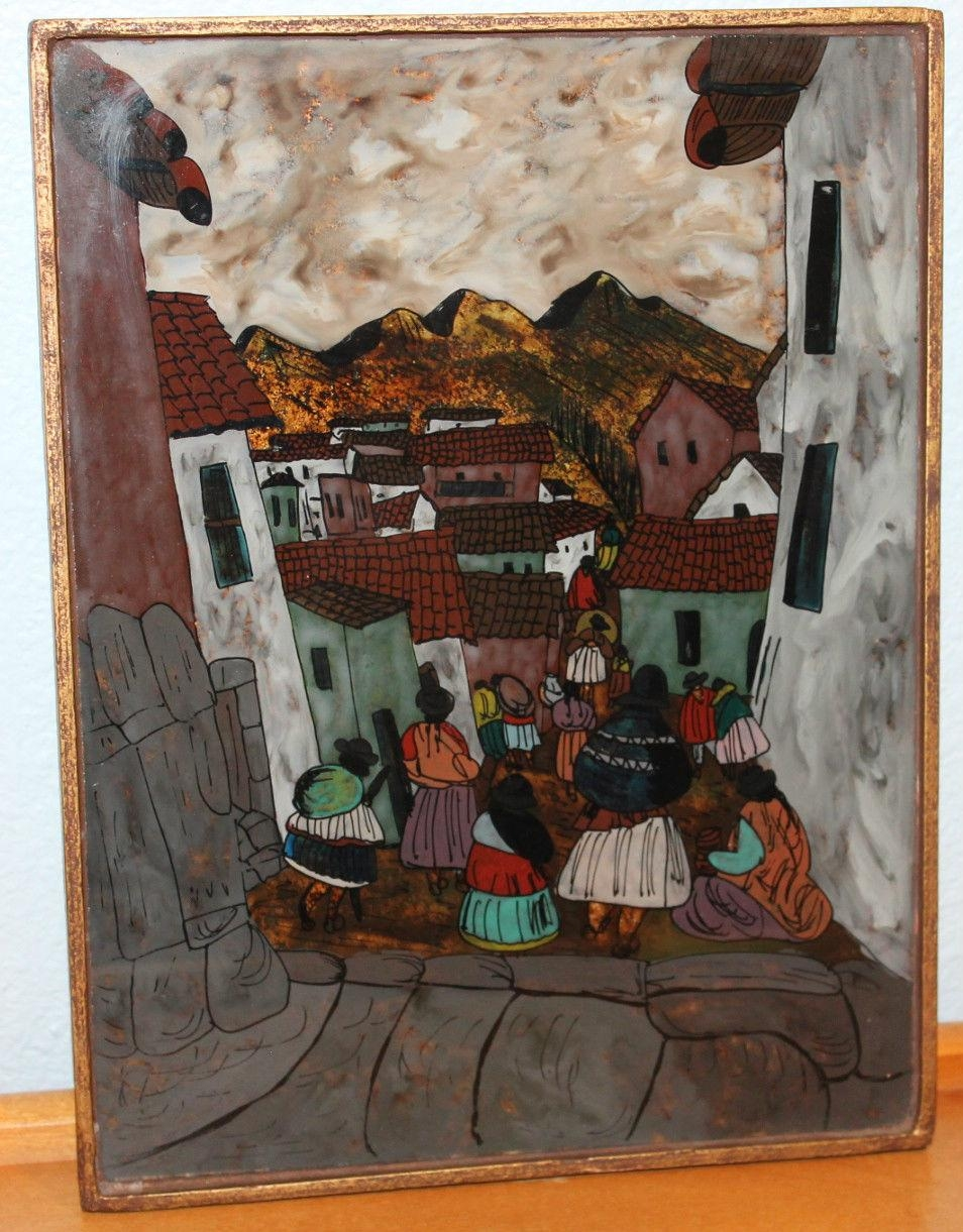 Framed Peruvian Wall Art Colored Glass Picture Reverse Painting In Peruvian Wall Art (View 13 of 20)