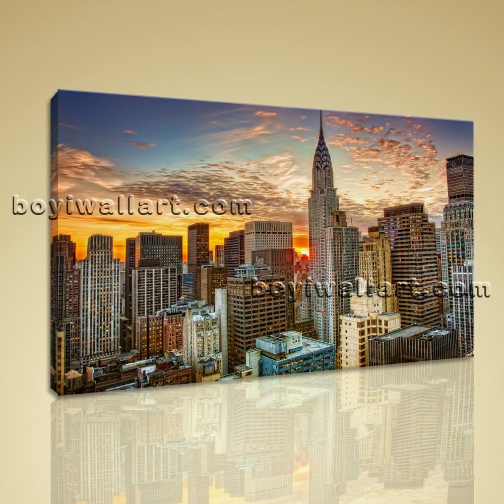 Framed Wall Art New York City Landscape Sunset Picture Print On Canvas Inside Large Framed Wall Art (View 11 of 20)