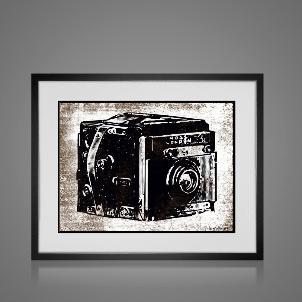 Framed Wall Art – Vintage Camera Print – Free Shipping – Wall Art Pertaining To Black And White Framed Wall Art (Image 11 of 20)