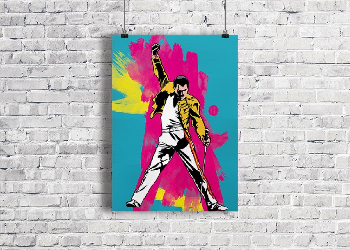 Freddie Mercury Illustration Freddie Mercury Poster Freddie In Freddie Mercury Wall Art (View 10 of 20)