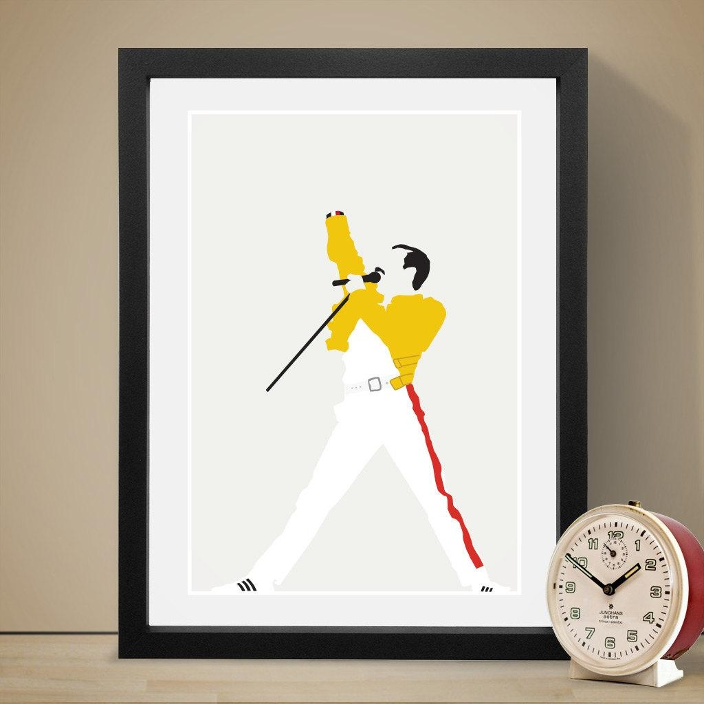 Freddie Mercury Poster Music Poster Music Print Art Print Intended For Freddie Mercury Wall Art (View 5 of 20)