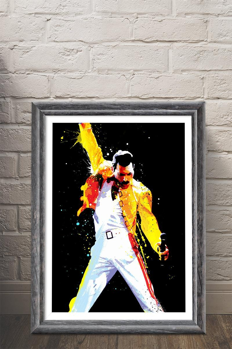 Freddie Mercury Queen Pop Art Art Print Musicmemorabelia Pertaining To Freddie Mercury Wall Art (Image 6 of 20)