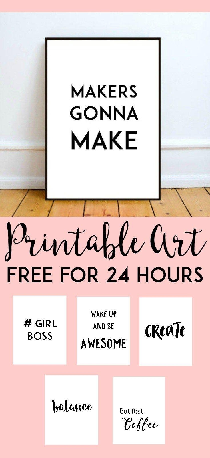 Free Printable Wall Art From @chicfetti – Perfect For Your Office In Cubicle Wall Art (Image 11 of 20)