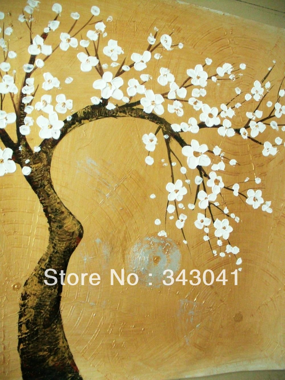 Free Shipping, Asian Hand Painted Wall Art, Home Decoration In Painted Trees Wall Art (View 17 of 20)