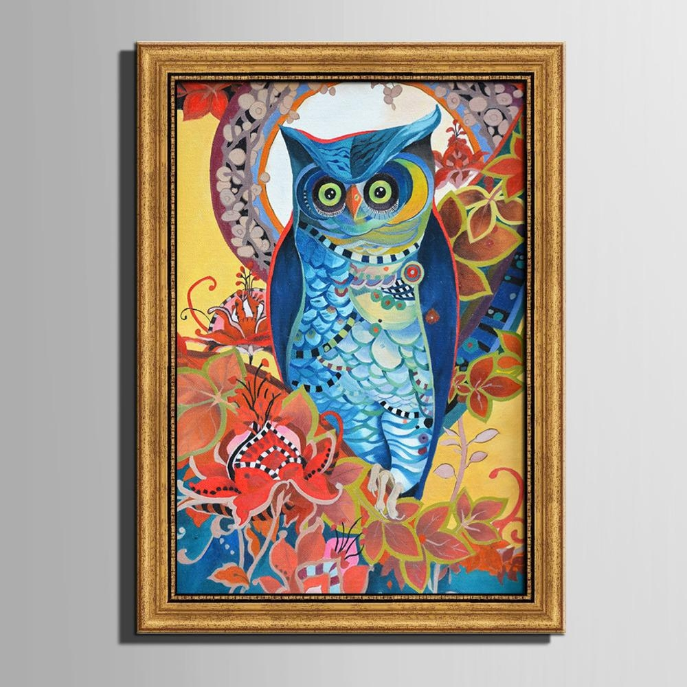 Free Shipping Framed Canvas Painting Art Colored Owl Painting Within Owl Framed Wall Art (View 19 of 20)
