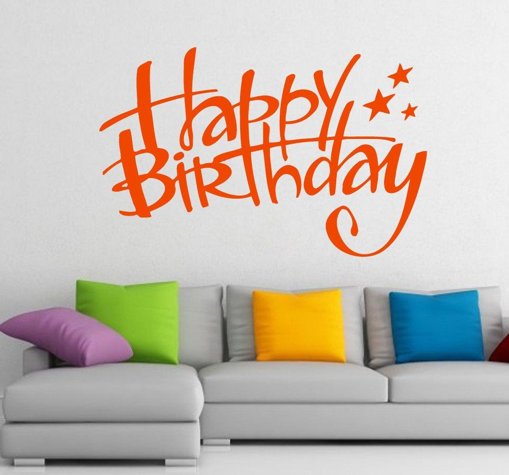Free Shipping Wall Decals Happy Birthday Lettering Stars Throughout Happy Birthday Wall Art (Image 7 of 20)