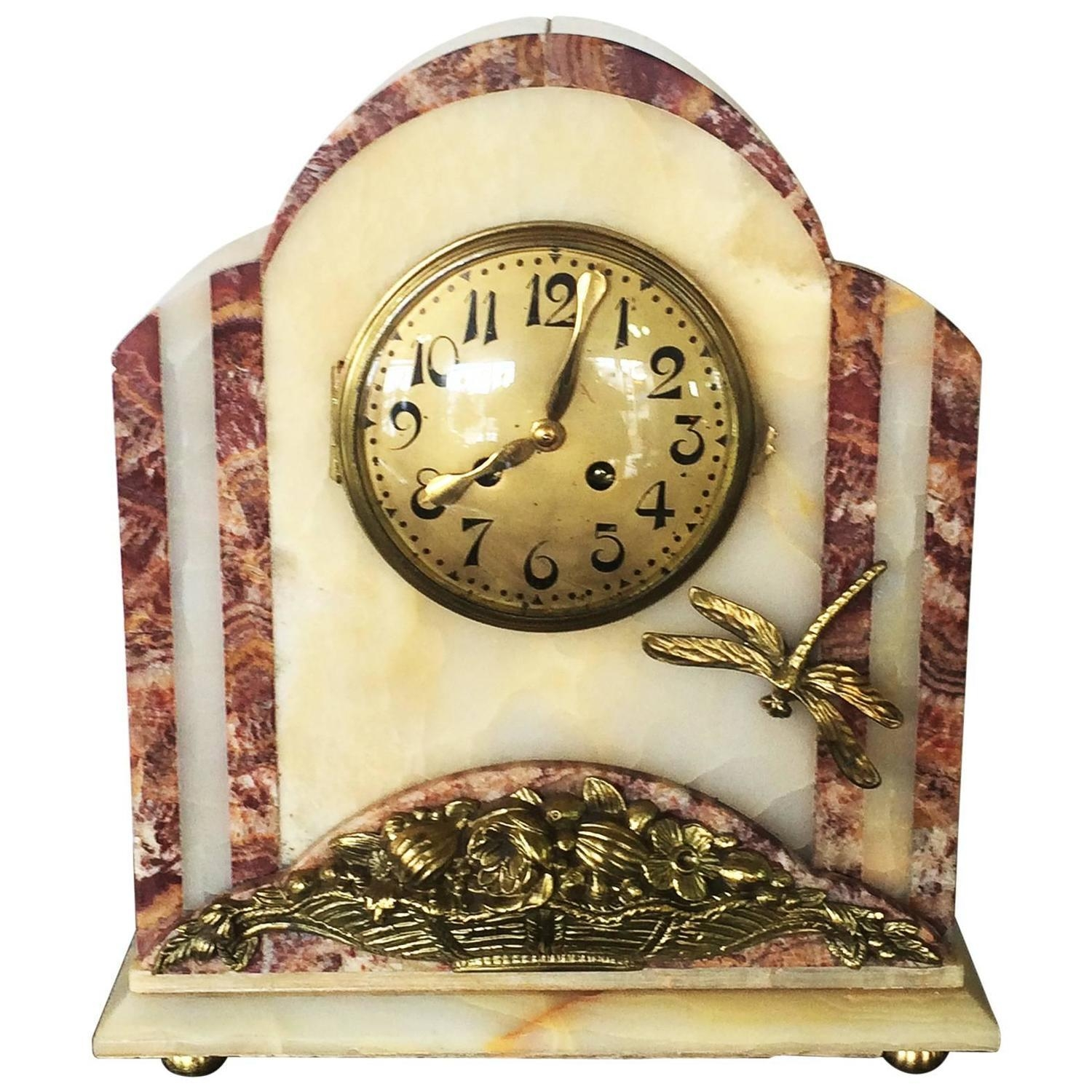 French Art Deco Bronze And Marble Clock With Dragonfly At 1Stdibs Throughout Large Art Deco Wall Clocks (Image 7 of 20)