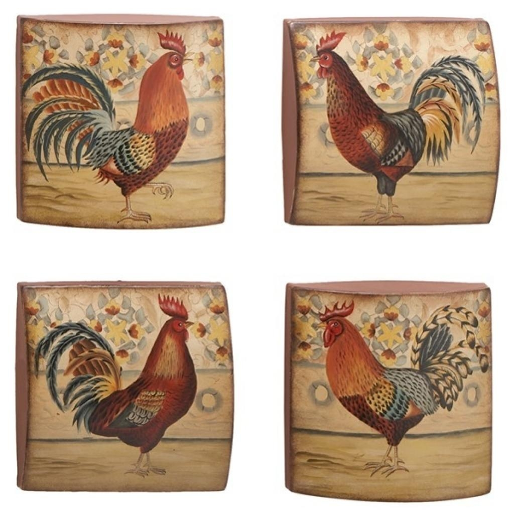 French Country Kitchen Rooster Motif | Rustic Rooster And Hen Inside Metal Rooster Wall Decor (Image 7 of 20)
