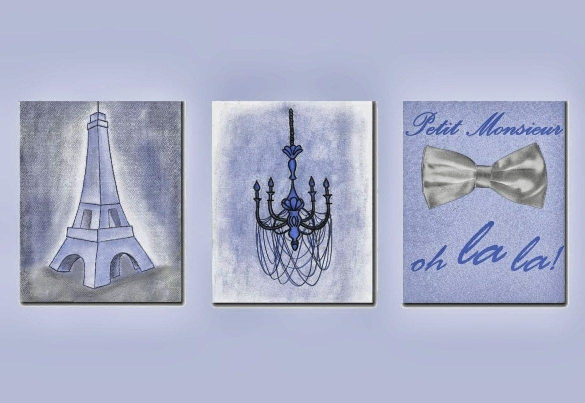 French Shabby Boy Nursery Decor, Paris Theme Prints, Eiffel Tower Pertaining To Paris Theme Nursery Wall Art (View 20 of 20)