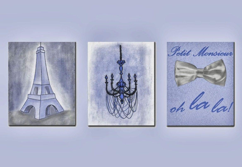 French Shabby Boy Nursery Decor, Paris Theme Prints, Eiffel Tower Pertaining To Paris Theme Nursery Wall Art (Image 11 of 20)