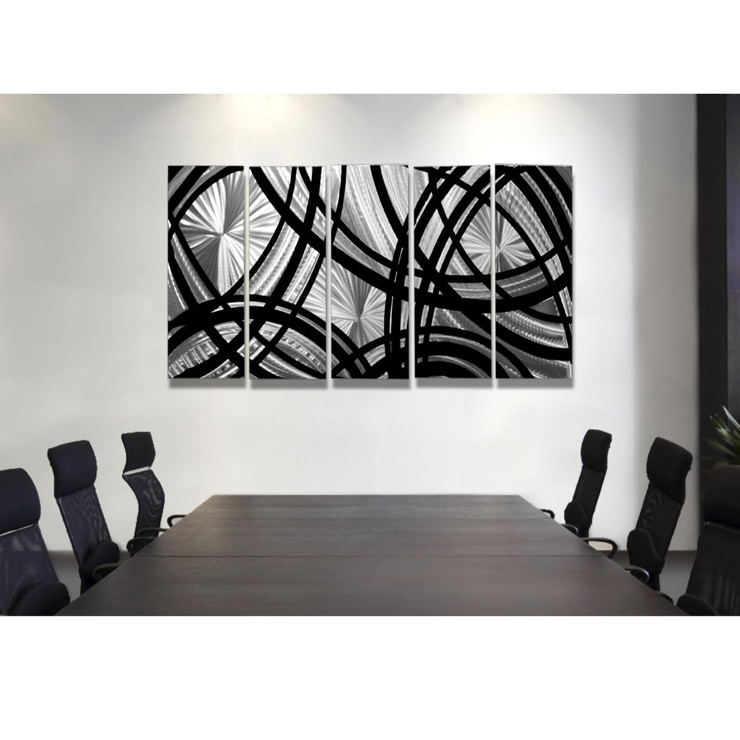 Frequency One – Black And Silver Metal Wall Art – 5 Panel Wall For Black Silver Wall Art (View 5 of 20)