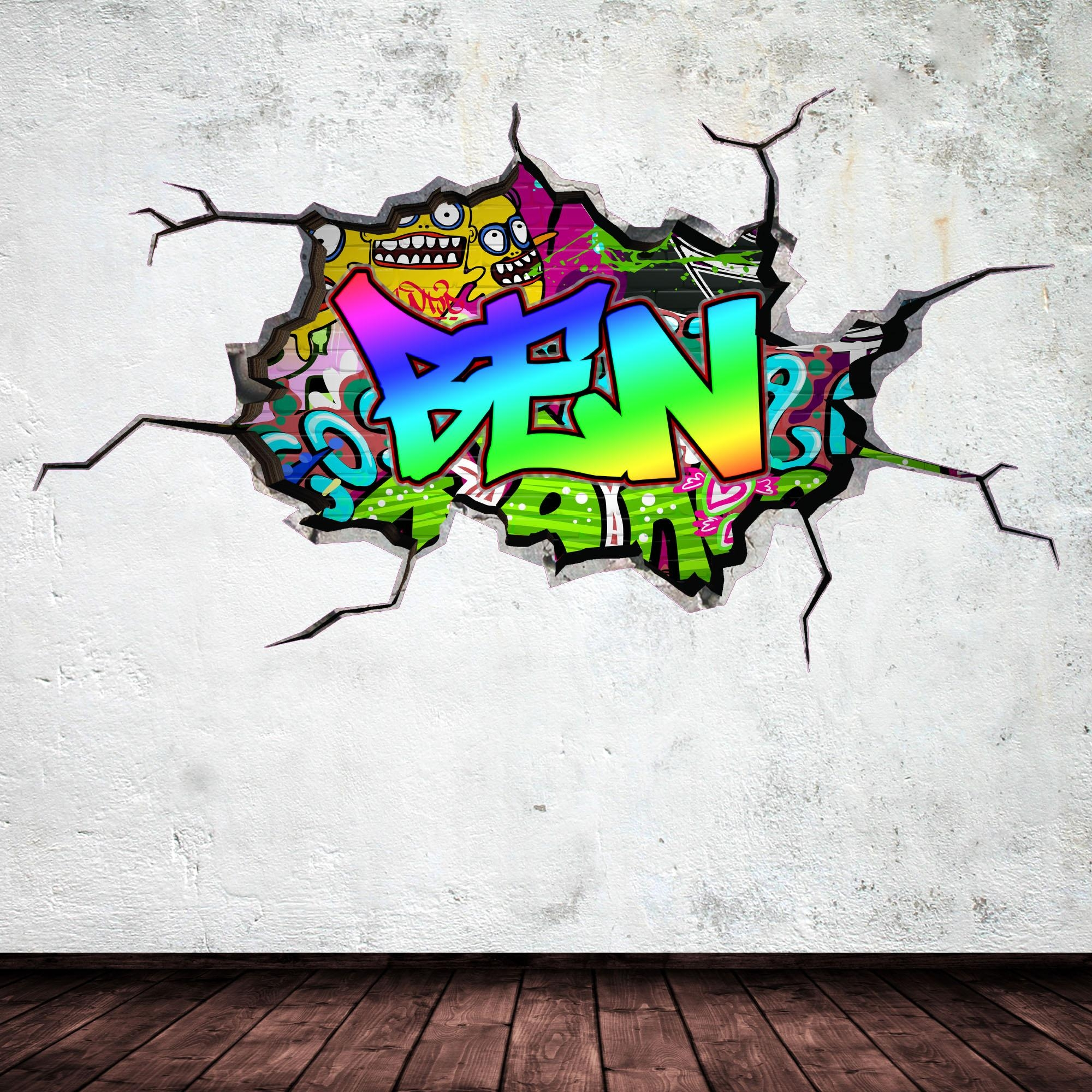 Full Colour Personalised 3D Graffiti Name Cracked Wall Art Throughout Graffiti Wall Art Stickers (Image 5 of 20)