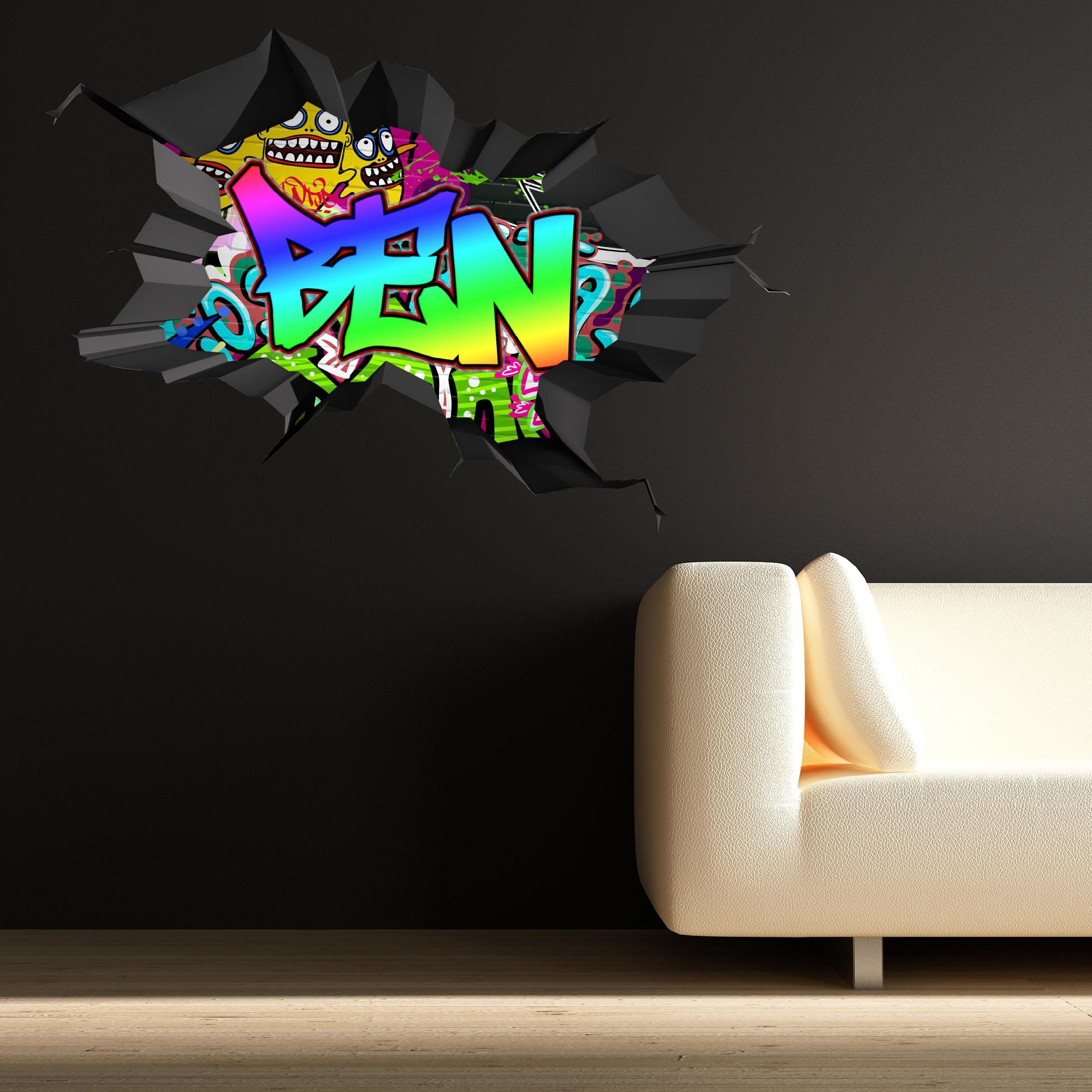 Full Colour Personalised 3D Graffiti Name Cracked Wall Stickers For Graffiti Wall Art Stickers (Image 6 of 20)