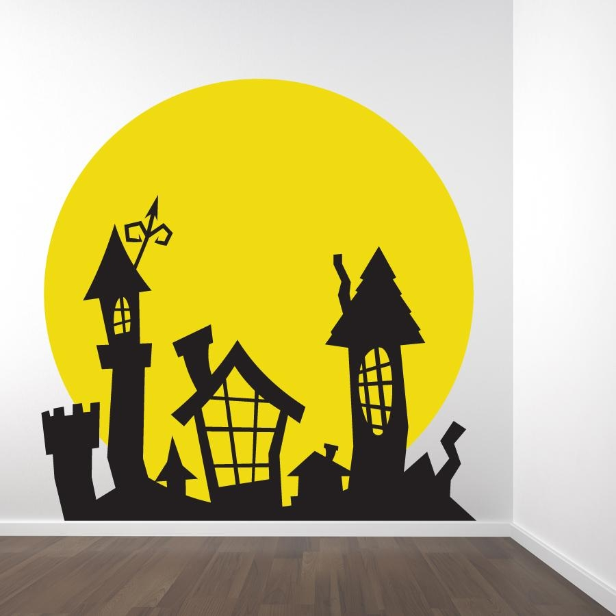 Full Moon Spooky Rooftop Wall Decal Sticker In Tim Burton Wall Decals (View 5 of 20)