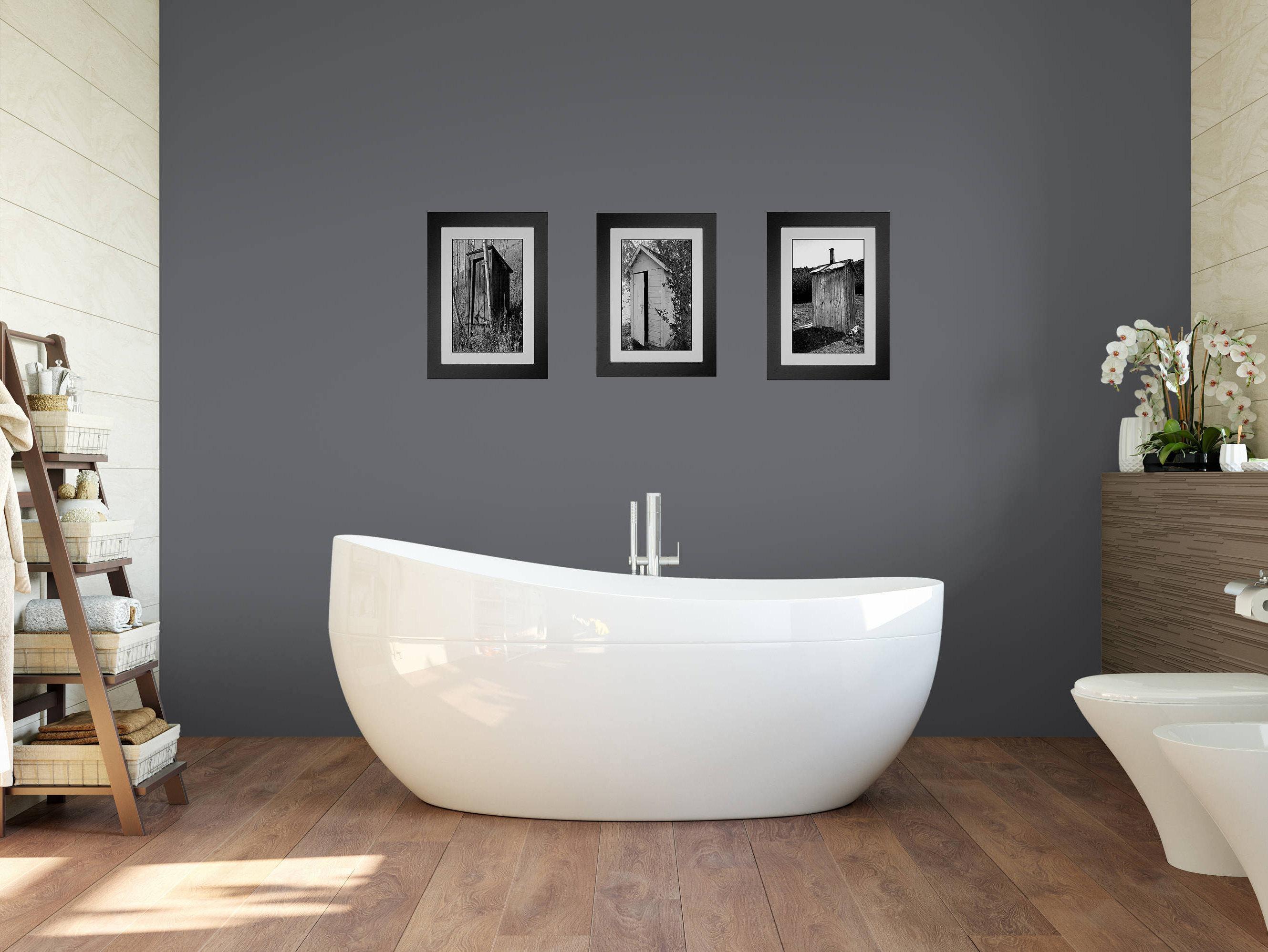 Funny Bathroom Art, Bathroom Wall Art, 3 Print Set, Framed Prints Inside Black And White Framed Wall Art (Image 13 of 20)