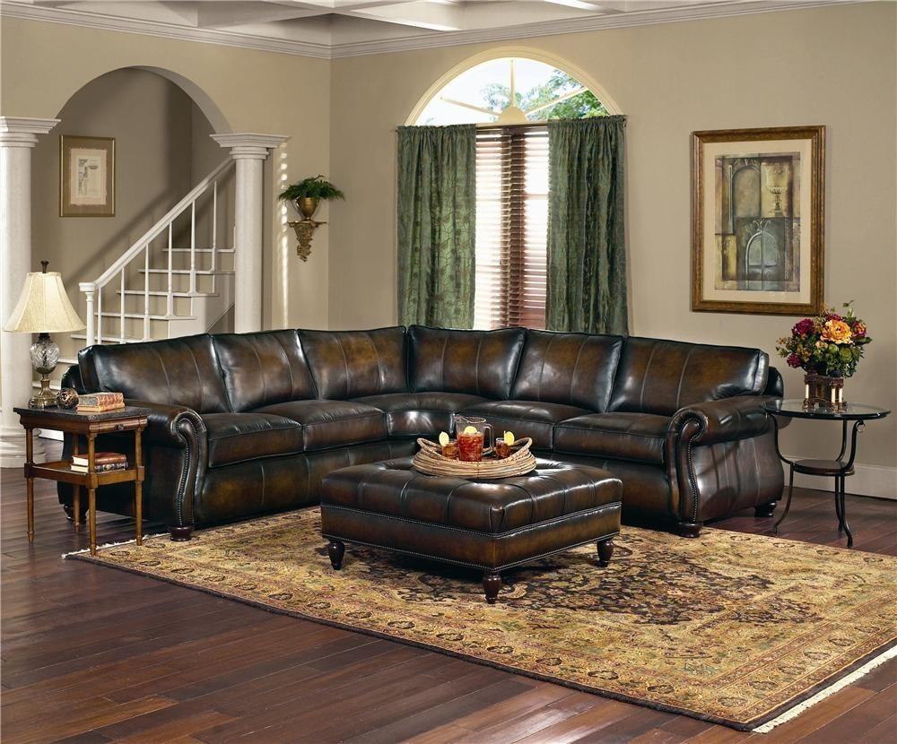 Furniture: Black Distressed Leather Sofa With Leather Ottoman Throughout Dark Wood Wall Art (Image 11 of 20)