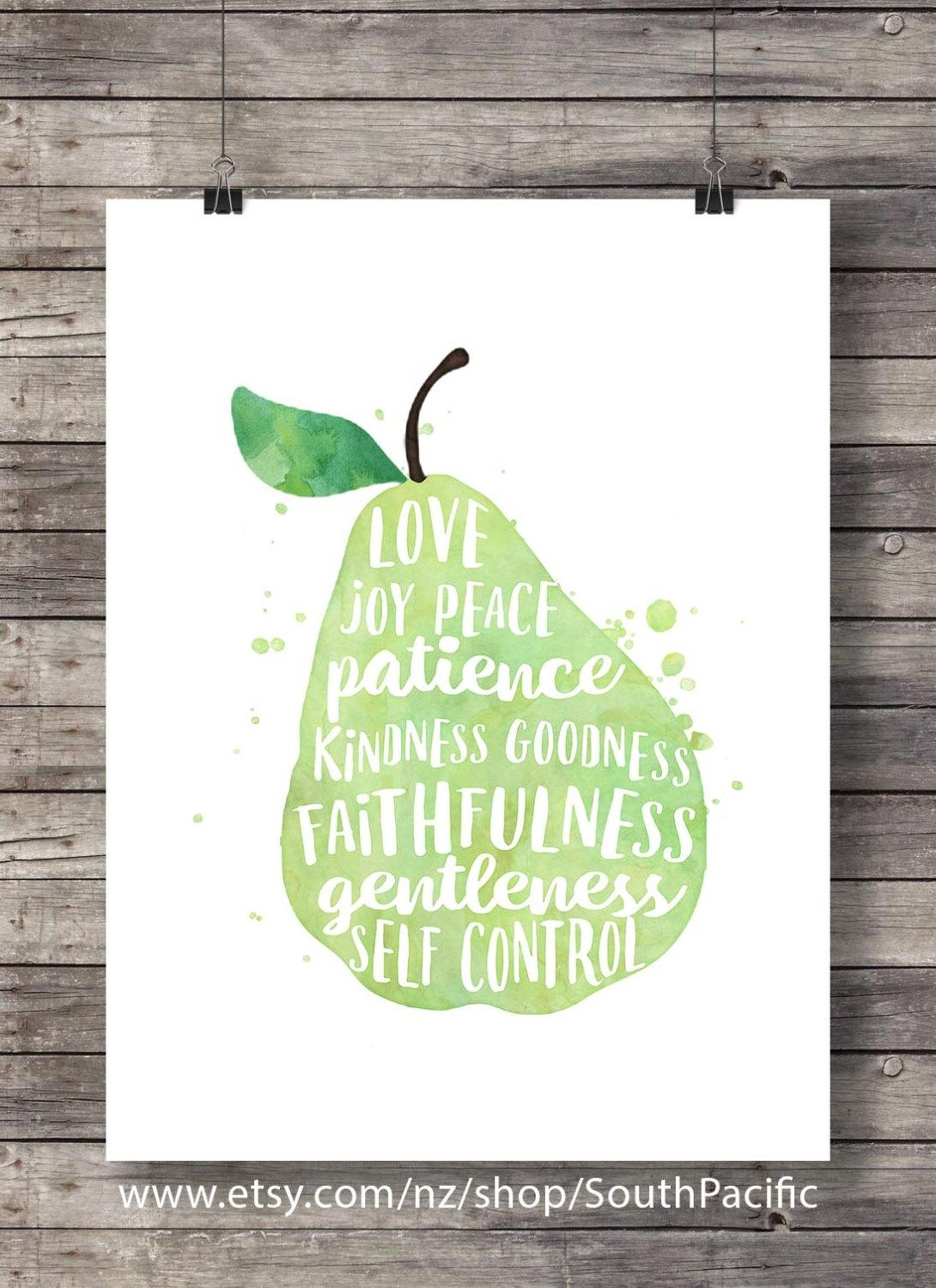 Galatians 5:22 Fruit Of The Spirit Pear Watercolor intended for Fruit of the Spirit Wall Art