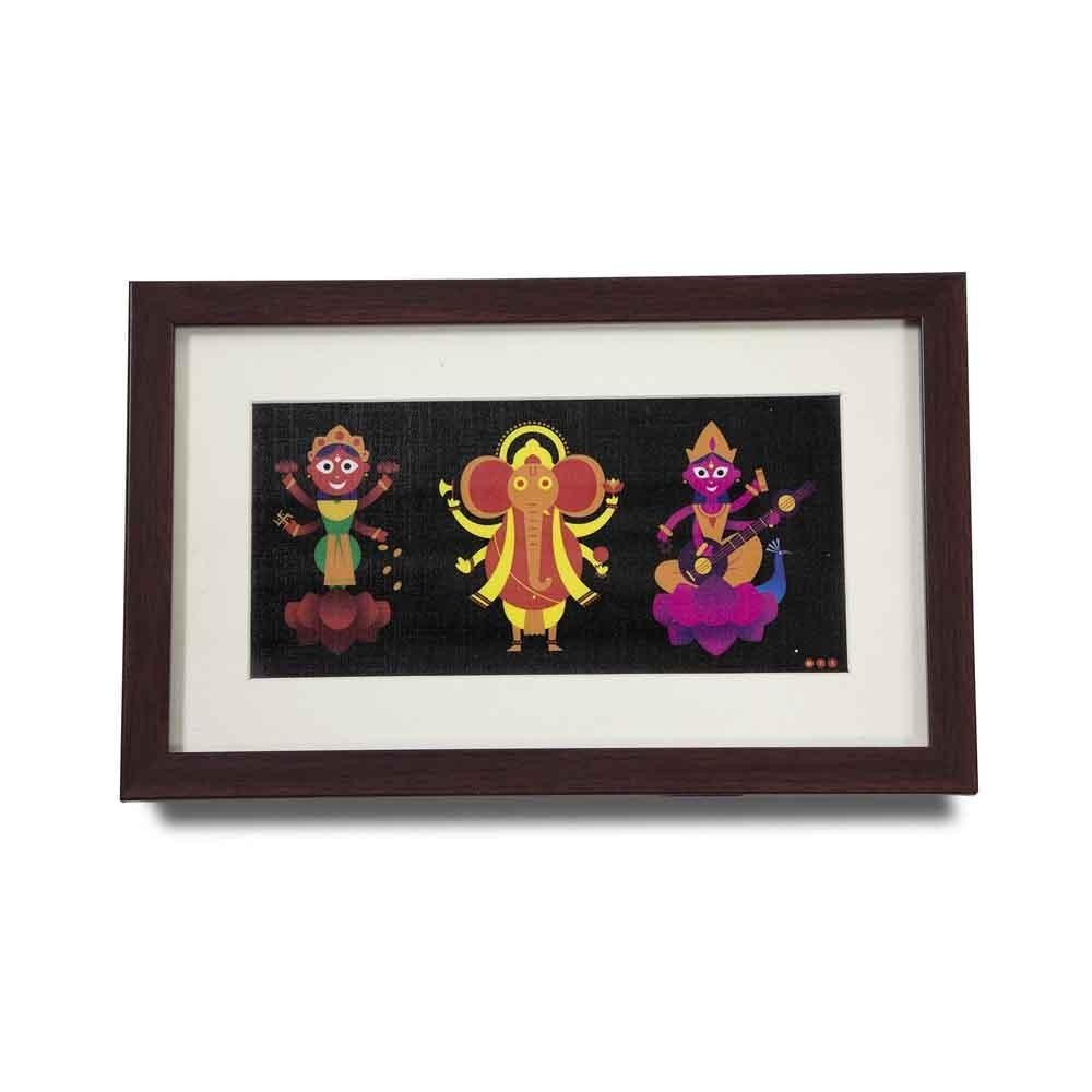 Ganesh Lakshmi Saraswati Wall Art| Frenchbob | Gifting Superhero in Ganesh Wall Art