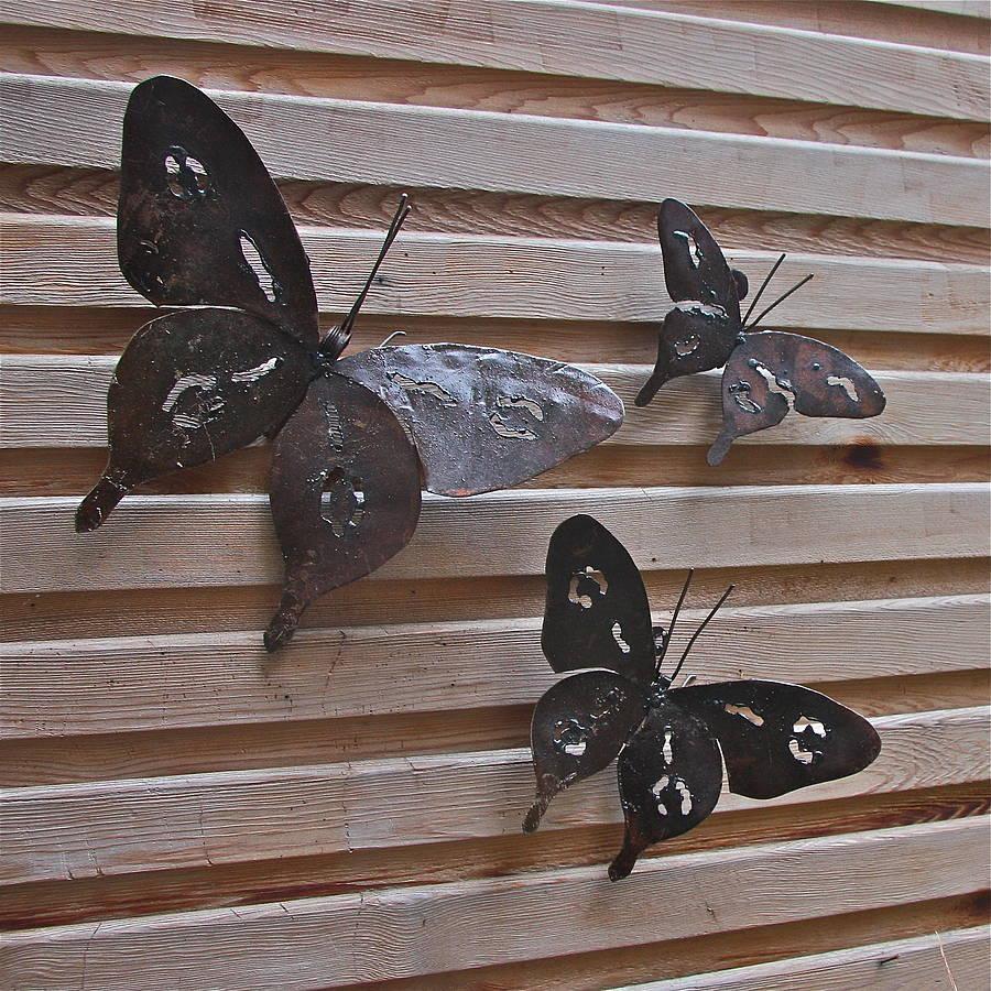 Garden Metal Art Gecko Lizard Metal Garden Sculpture Wall Hang Pertaining To Large Metal Butterfly Wall Art (Image 7 of 20)