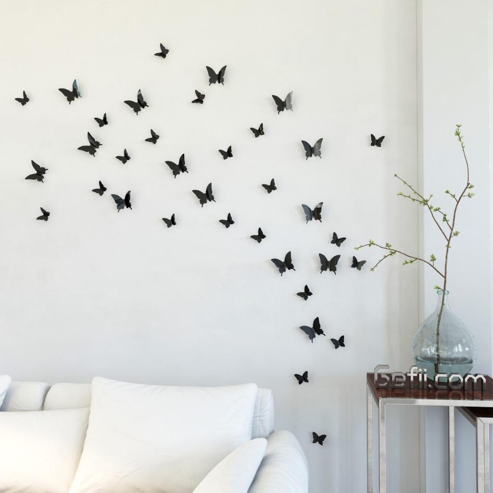Gefii Tm] Mariposa In Gossip Girl 12Pcs/pack Black Pvc 3D With Butterflies 3D Wall Art (Image 13 of 20)