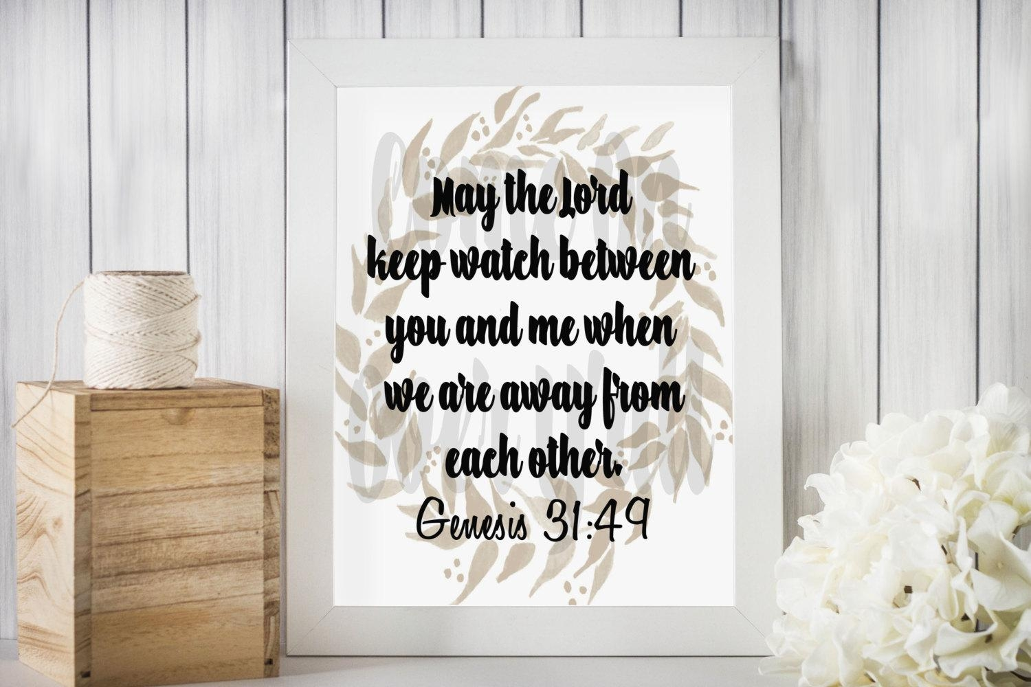 Genesis 31 49 May The Lord Keep Watch Between You And Me throughout Neutral Wall Art
