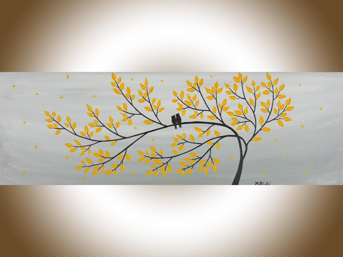 "Gentle Breezeqiqigallery 36"" X 12"" Original Modern Abstract regarding Yellow Grey Wall Art"