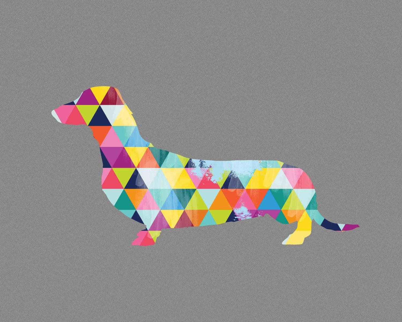 Geometric Dachshund Wall Art Print Poster Sausage Dog Breed pertaining to Dachshund Wall Art