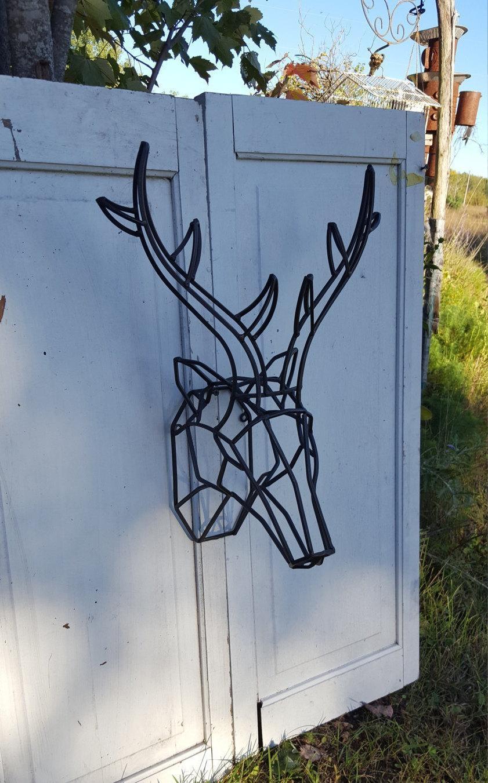 Geometric Wall Decor / Geometric Deer Head / Metal Deer Art/ for Stag Wall Art