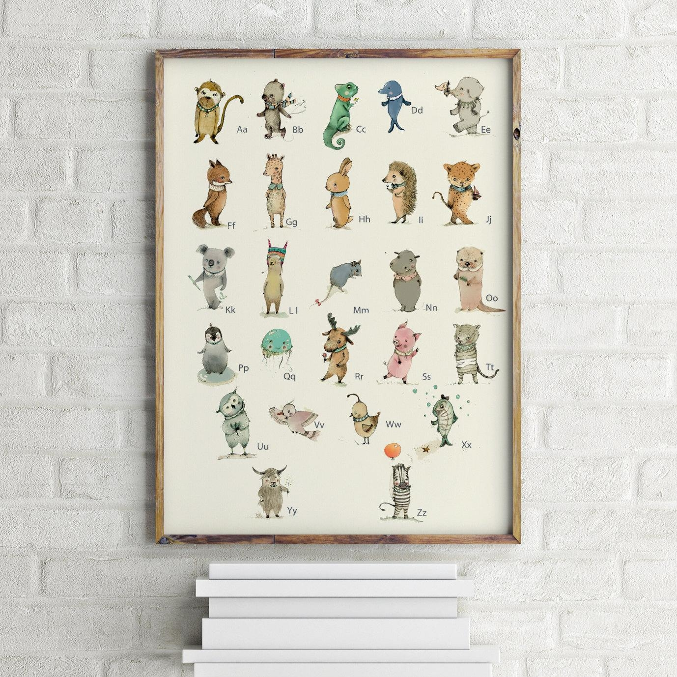 German Childrens Wall Art Print Abc Animals Alphabet In Etsy Childrens Wall Art (View 9 of 20)