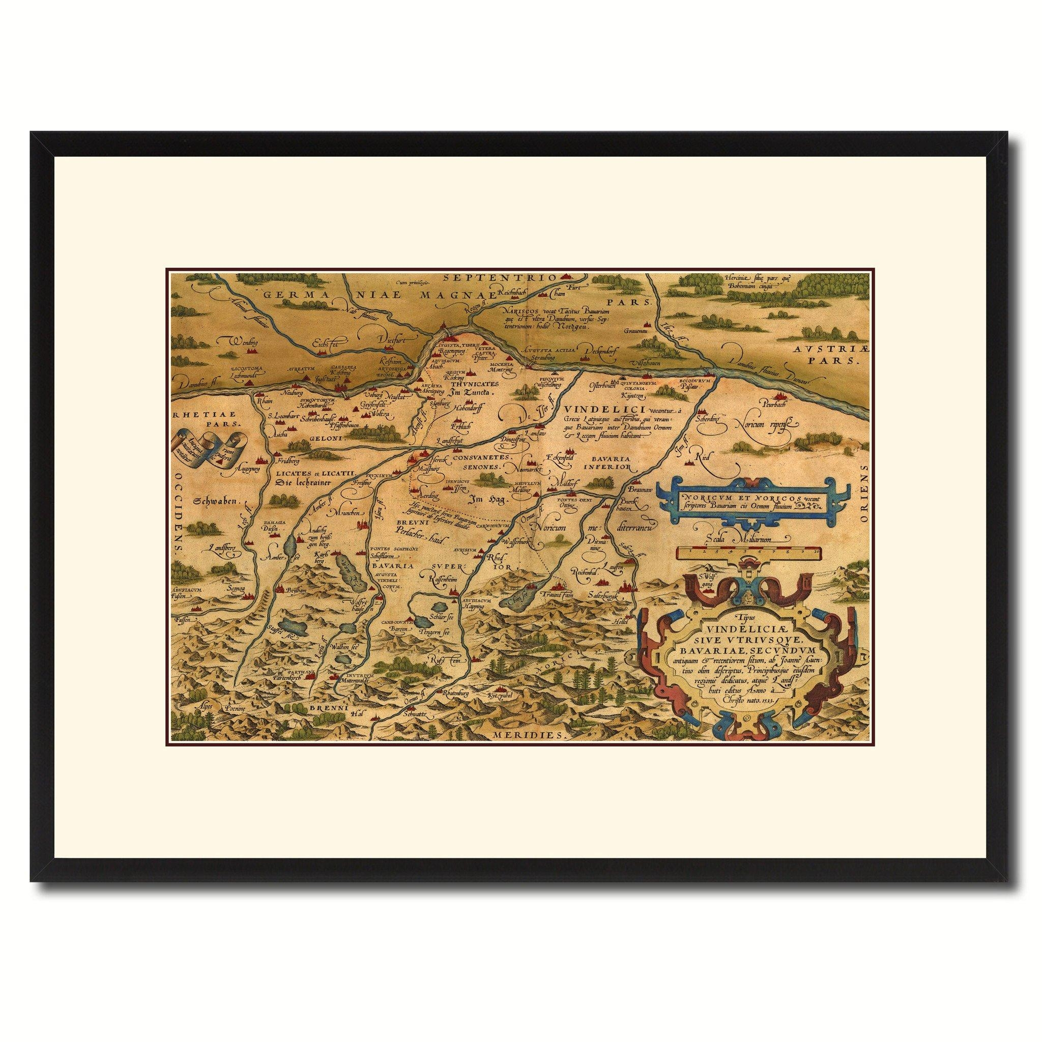 Germany Bavaria Vintage Antique Map Wall Art Home Decor Gift Ideas Within Antique Map Wall Art (Image 7 of 20)
