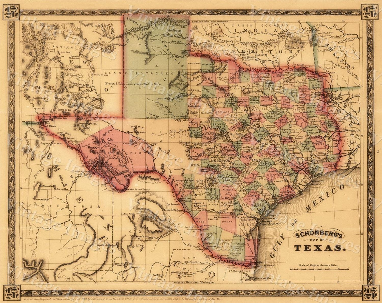 Giant 1866 Texas Old West Map Antique Restoration Hardware Style With Regard To Antique Map Wall Art (Image 8 of 20)