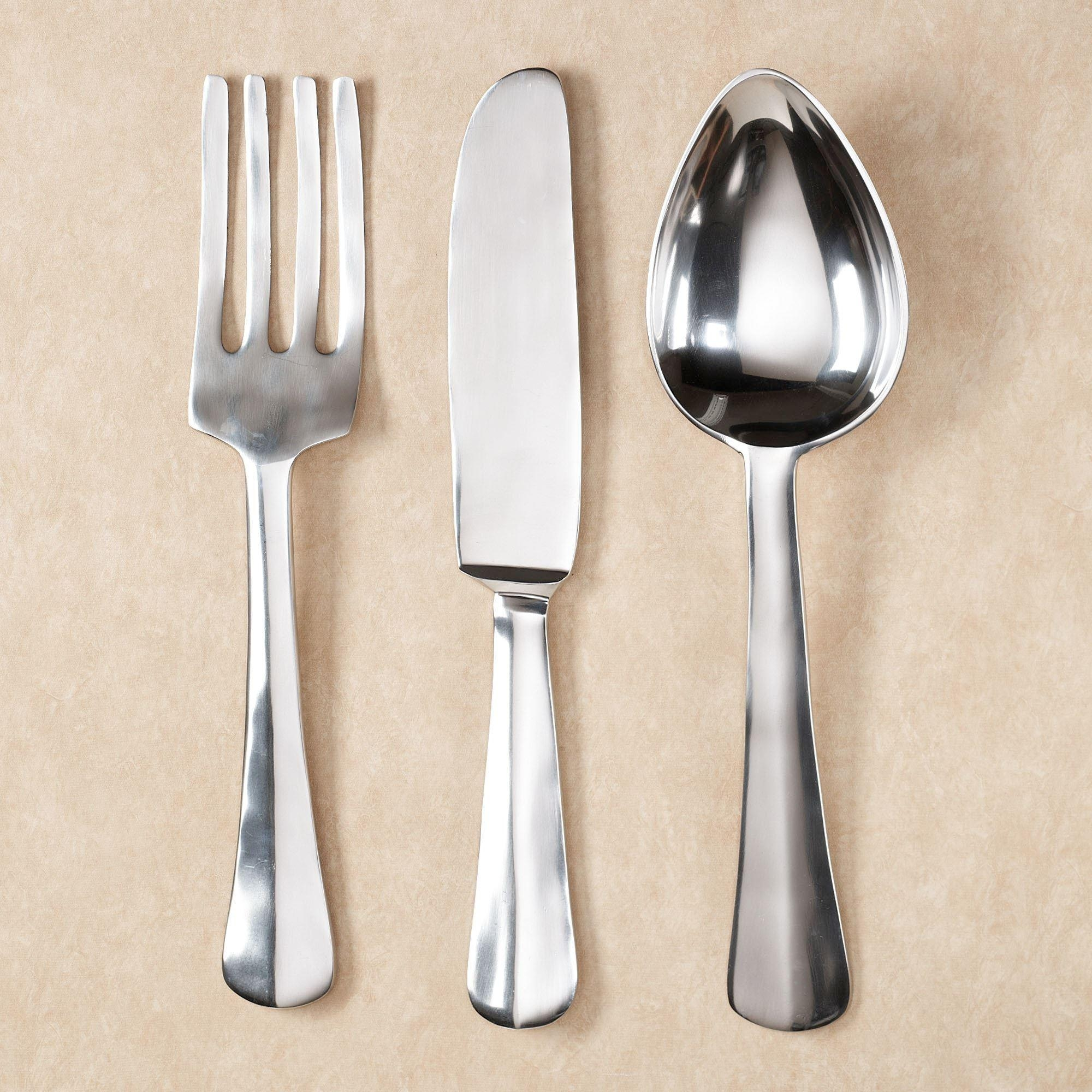 Giant Kitchen Utensils Wall Hangings Set With Regard To Giant Fork And Spoon Wall Art (Image 7 of 20)