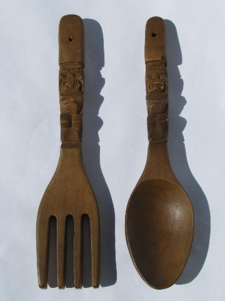 Giant Wooden Spoon And Fork Wall Decor: Vintage But Decorative Big for Big Spoon and Fork Wall Decor