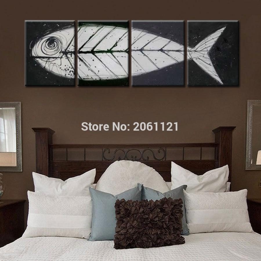 Gift Box Painting Picture - More Detailed Picture About Big Gray with Fish Bone Wall Art