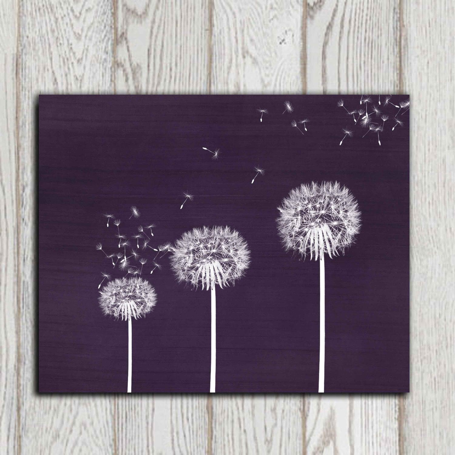 Gift Idea Dandelion Printable Purple Dandelion Print Wall Art Regarding Purple Wall Art (Image 10 of 20)