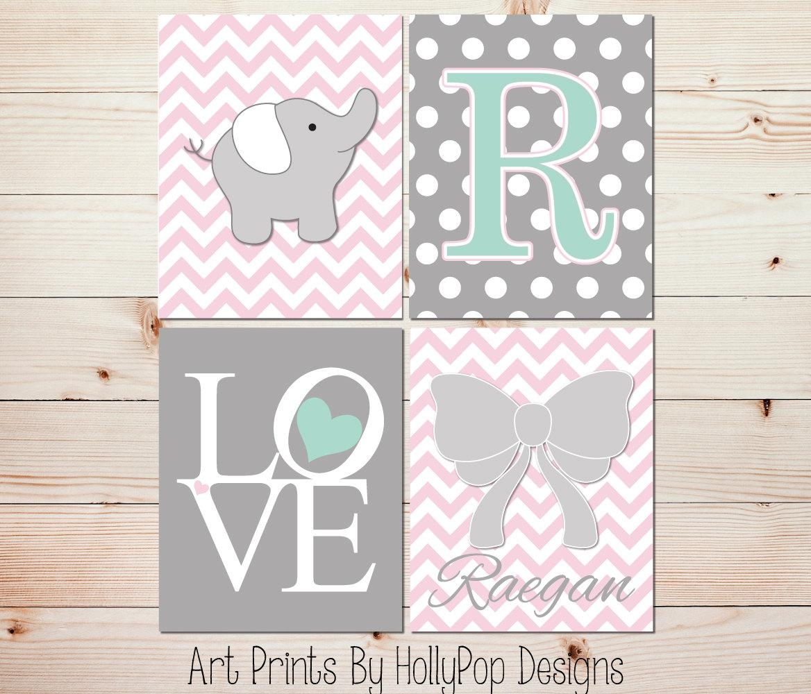 Girl Nursery Art Pink Gray Nursery Decor Baby Girl Wall Art Pertaining To Pink And Grey Wall Art (View 13 of 20)