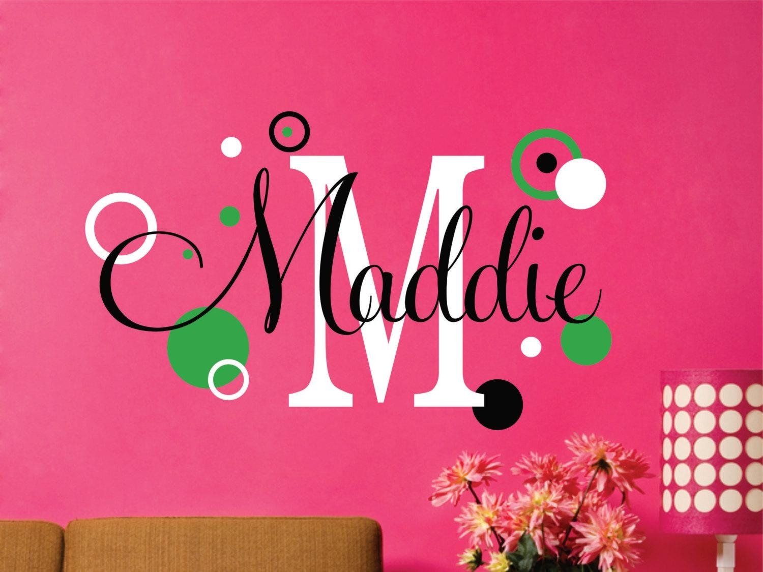 Girls Name Decal With Circles // Custom Name Decal // Custom Inside Etsy Childrens Wall Art (View 14 of 20)