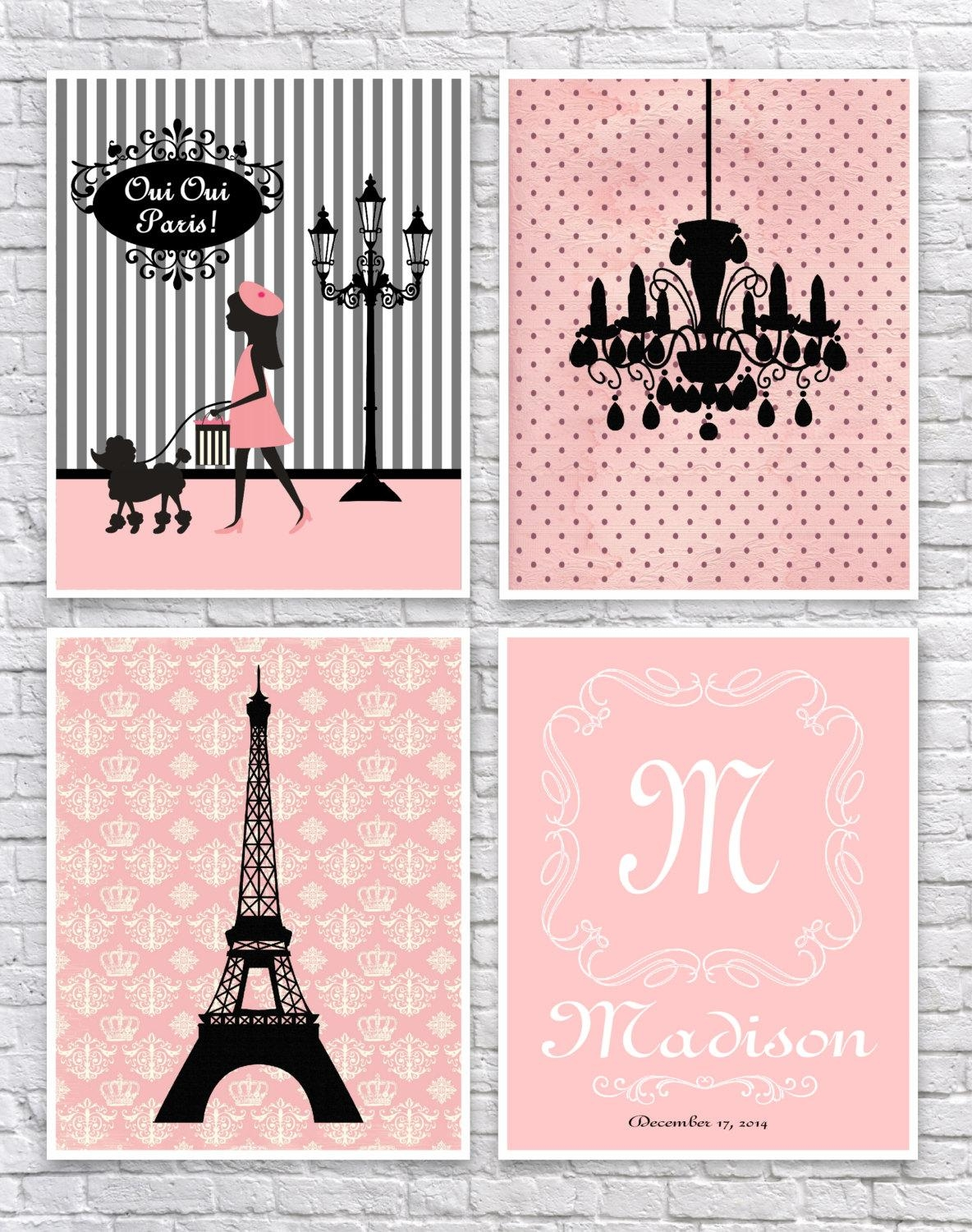 Girls Paris Bedroom Art French Wall Art Paris Nursery Art For Paris Theme Nursery Wall Art (View 4 of 20)