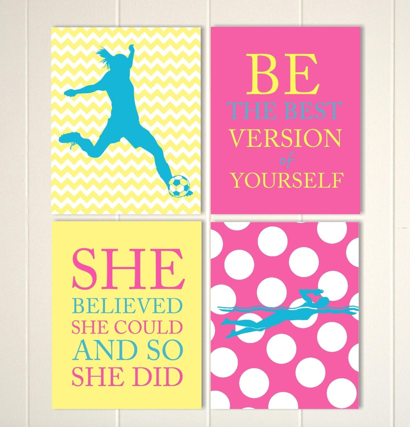 Girls Soccer Wall Art Soccer Room Decor Girl Swimmer Wall With Little Girl Wall Art (Image 9 of 20)