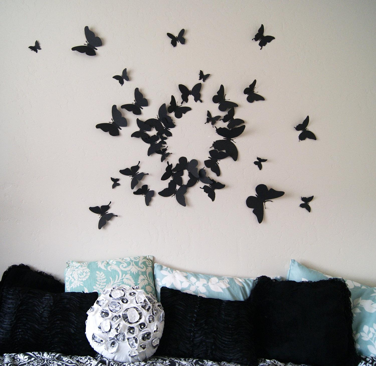 Girly Butterfly Decorations Ideas For Wall Bedroom | The Latest For Butterflies 3D Wall Art (Image 14 of 20)