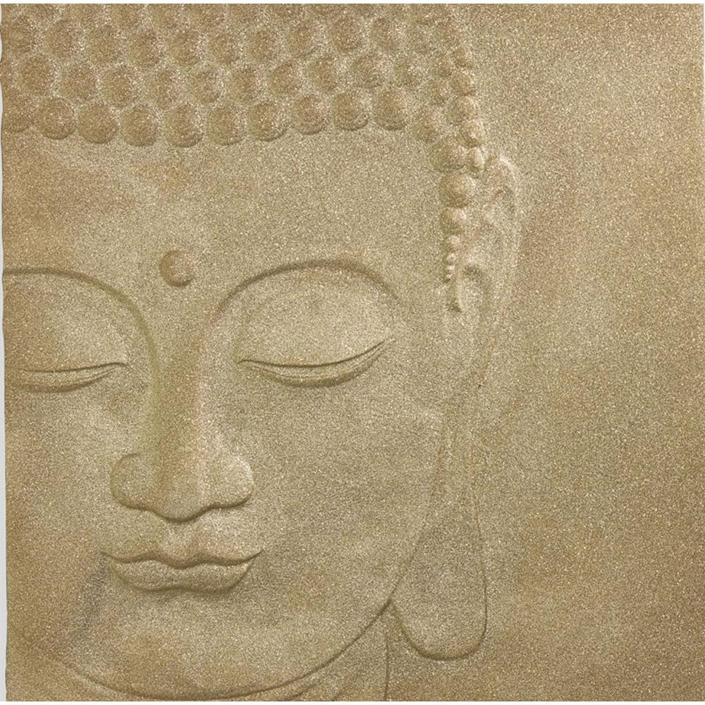 Glitterati Buddha 3D Wall Art Gold 60 X 60Cm At Wilko within 3D Buddha Wall Art