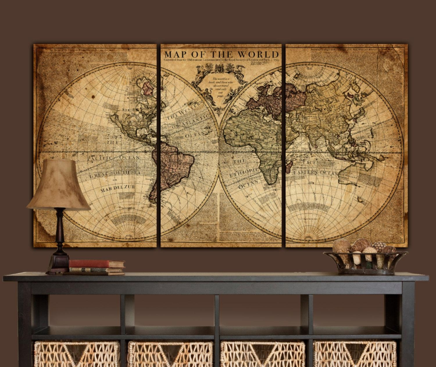 Globe Tan Map World Map Canvas Vintage Map Set Large Wall With Regard To Large Vintage Wall Art (View 2 of 20)