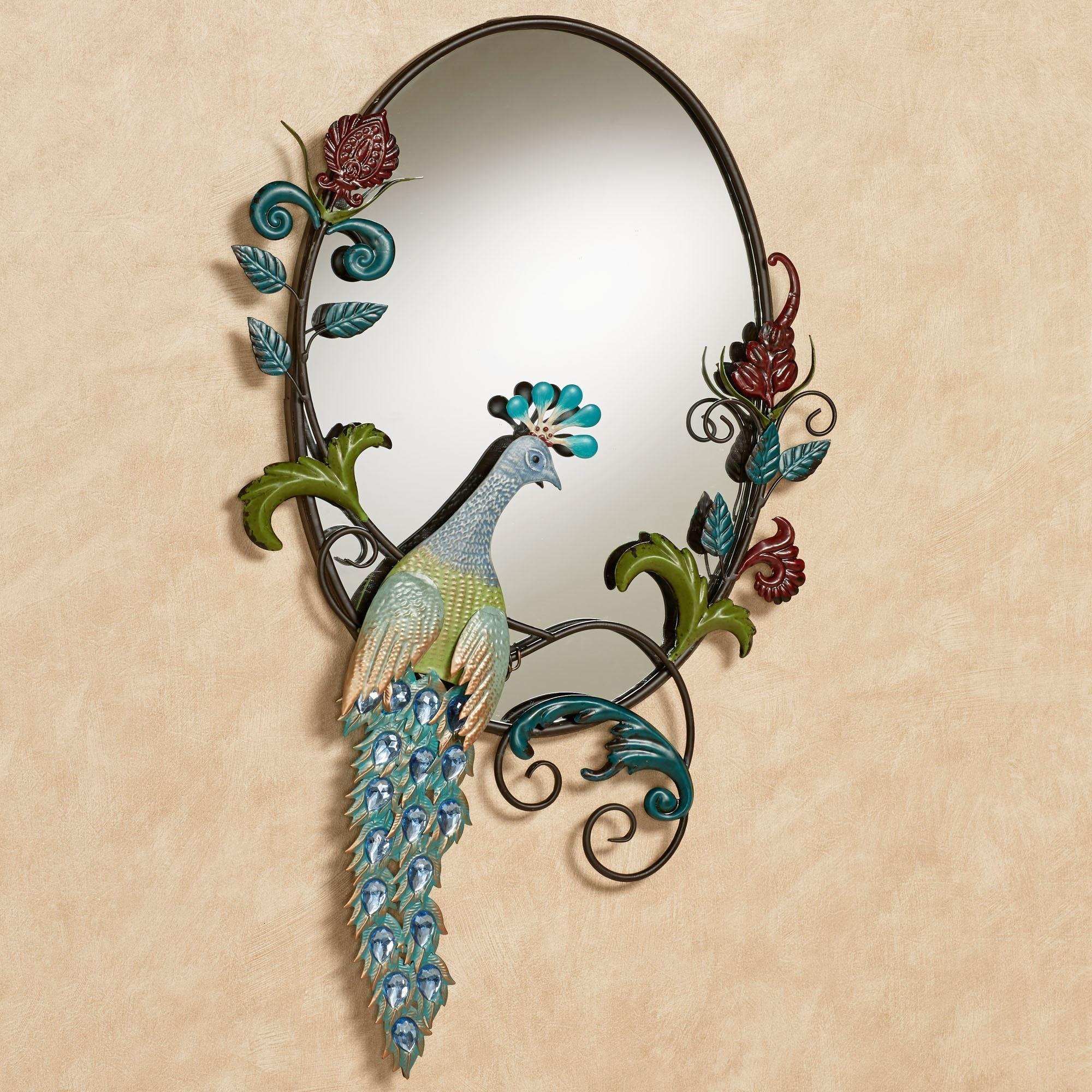 Glorious Jeweled Peacock Wall Mirror Inside Jeweled Peacock Wall Art (Image 9 of 20)