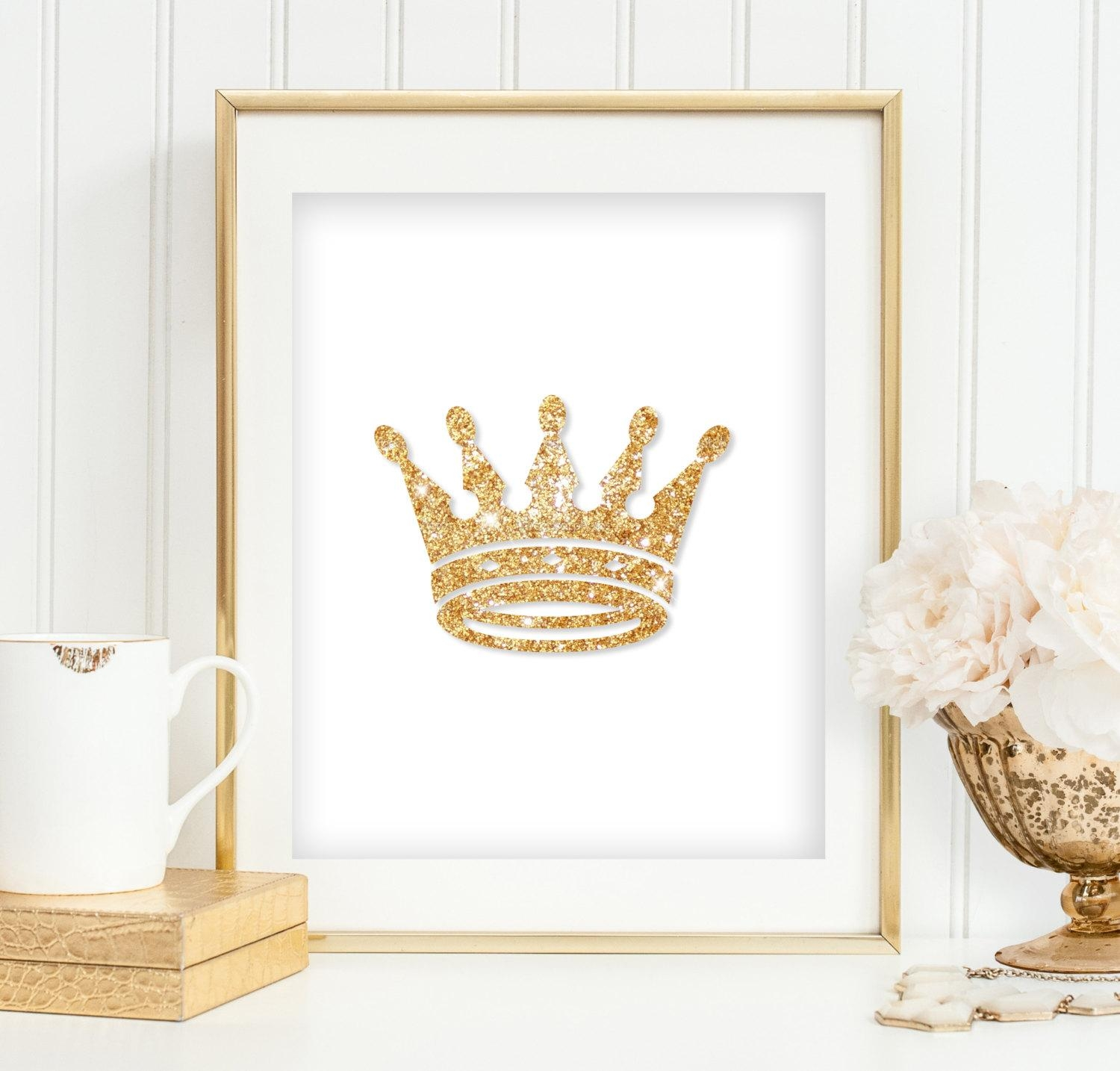Gold Glitter Crown Print Girl's Bedroom Wall Art Princess With Regard To Princess Crown Wall Art (Image 11 of 20)