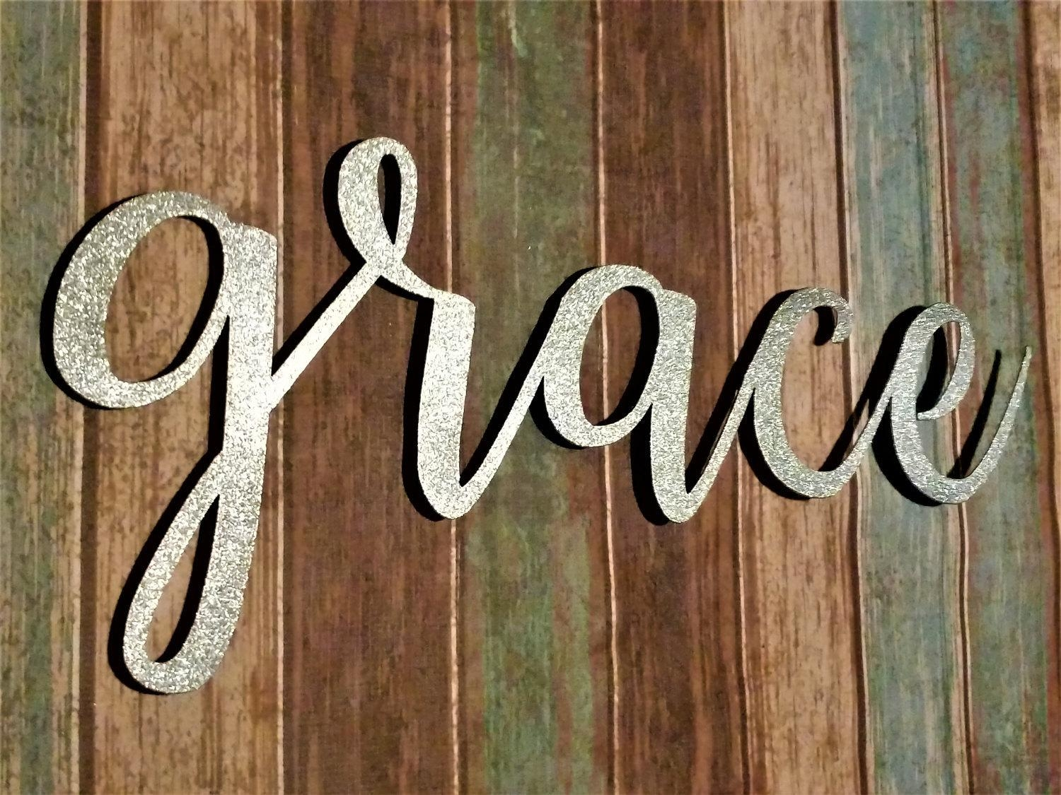 Grace Sign, Farmhouse Wall Decor, Grace Wall Art, Rustic Word Sign With Regard To Metal Word Wall Art (Image 6 of 20)