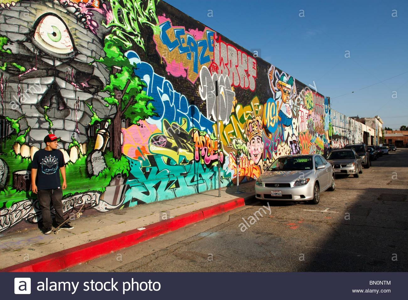 Graffiti Covered Wall, Arts District, Downtown Los Angeles Stock Intended For Los Angeles Wall Art (Image 5 of 20)